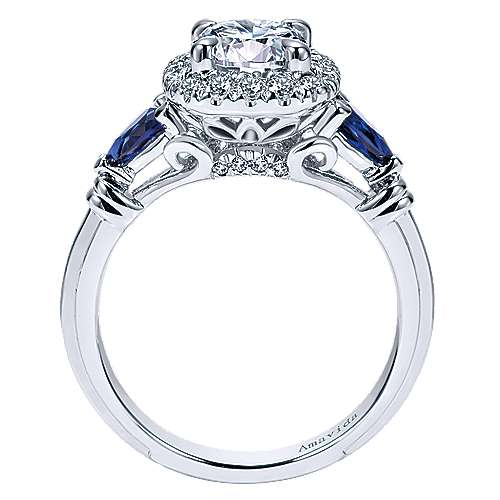 Gabriel 18K White Gold Cushion Three Stone Halo Round Sapphire And Diamond Engagement Ring~ER11699R4W83SA 2