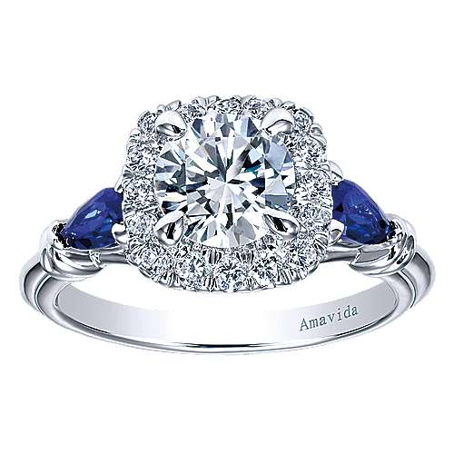 Gabriel 18K White Gold Cushion Three Stone Halo Round Sapphire And Diamond Engagement Ring~ER11699R4W83SA 5